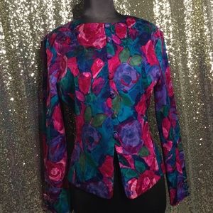 Floral silk blazer