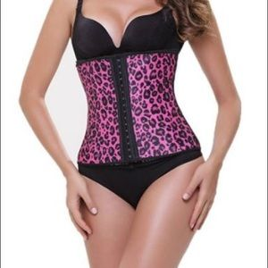 Other - PINK ANIMAL PRINT STEEL BONED LATEX WAIST TRAINER