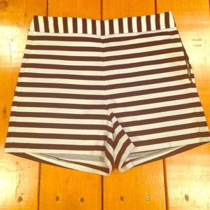 Express white and black stripe shorts