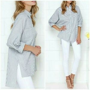 lulus Tops - Casually Cute Hi-Lo Button Up M