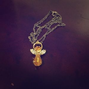Orange and gold angel necklace