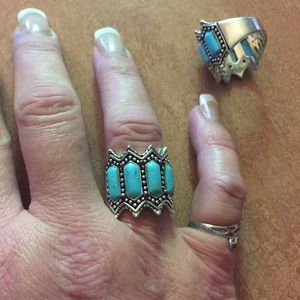 Jewelry - Vintage 925 Genuine Turquoise & Ruby Wide Band
