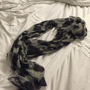 Leopard print with skulls scarf/wrap