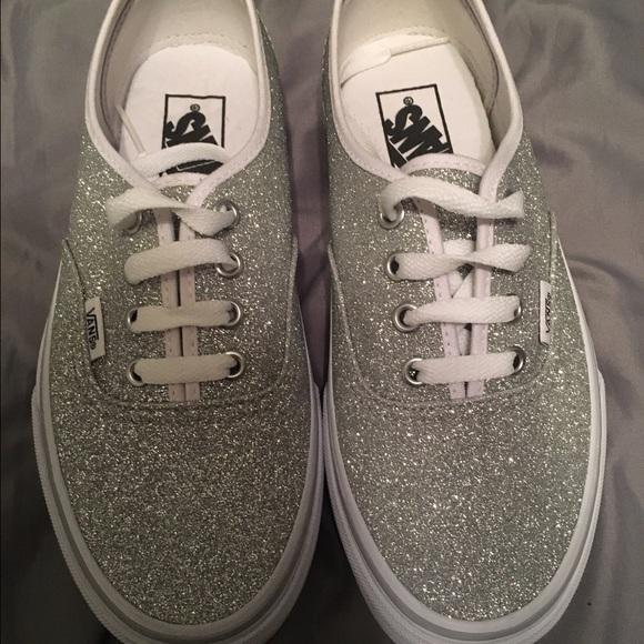 f95e4a1c87f Women s vans authentic silver glitter skate shoe. M 57cbc1c32de512b80d00e937