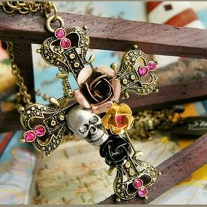 Jewelry - Boho,, Hardy style Cross , skull & rose necklace
