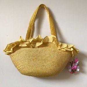 Handbags - BOUGHT IN TOKYO Yellow Wicker Beach Bag