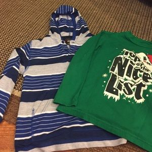 Boys hooded long sleeve and green t.