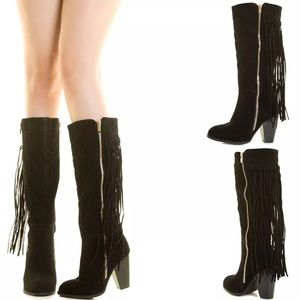 Shoes - Fringe suede western boots