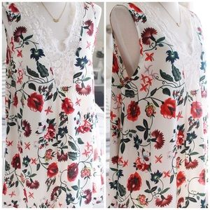 Sleeveless Lace Neckline Floral Dress