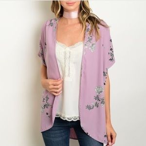 Tops - Open Front Lavender Floral Kimono