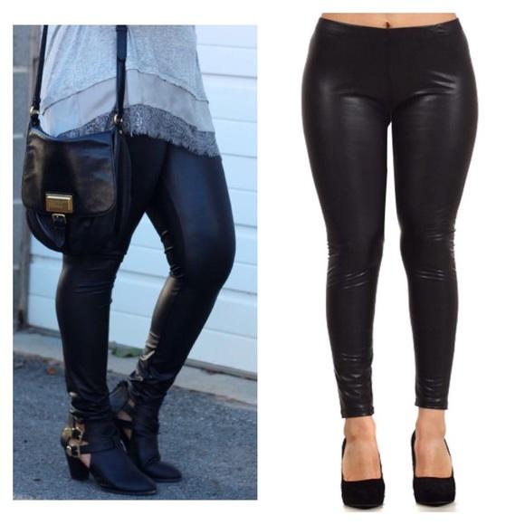 20% off Pants - Plus Size- Fleece Lined Vegan Leather Leggings ...