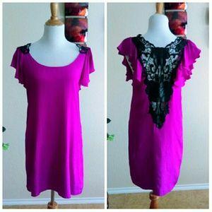 SugarLips Dresses & Skirts - ⬇Fuchsia Flutter Sleeve Dress w/ Black Lace
