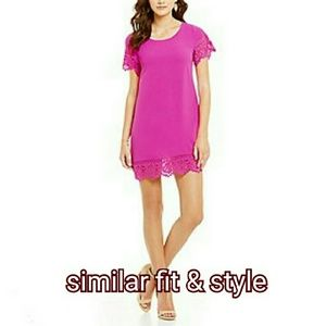 SugarLips Dresses - ⬇Fuchsia Flutter Sleeve Dress w/ Black Lace