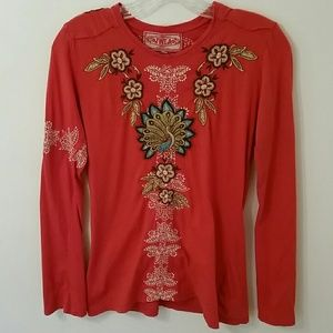 Johnny Was Tops - JWLA Embroidered Peacock & Flowers Top