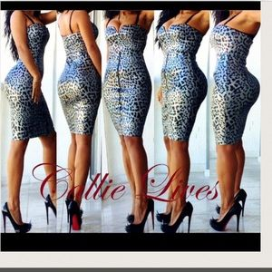 Do & Be Dresses & Skirts - Silver 🚨LAST🚨Cheetah Strapless BodyCon