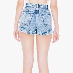 American Apparel High-Waisted Shorts - Acid Wash