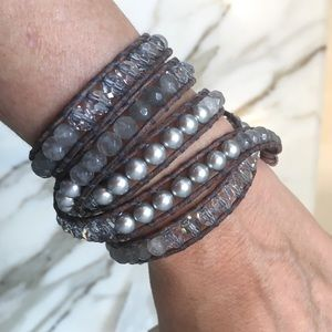 Chan Luu pearl and stone 5 wrap bracelet