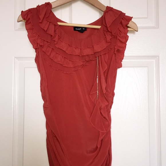 bebe Tops - Bebe coral silk top with side accents