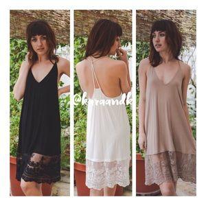 Dresses & Skirts - Lace Tunic Top, T Back Midi Slip Dress Extender