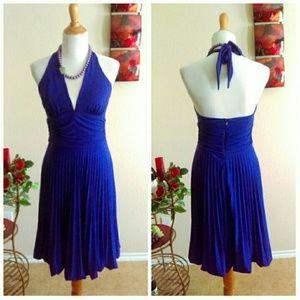 Cache Dresses & Skirts - ⬇Purple Marlyn Halter Pleated Dress