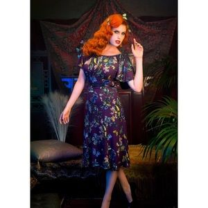 Pinup Girl Clothing Butterfly Dress in Moth Print