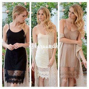 Lace dress extender slip knot