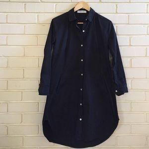 Everlane Twill Shirt Dress in Washed Black