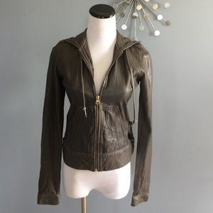 Mike & Chris leather hoodie jacket
