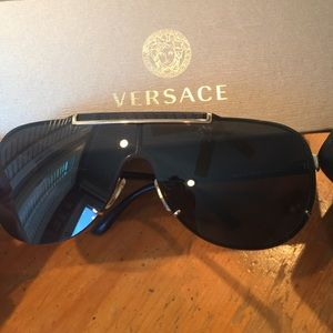 Versace Black and Gold Shield Sunglasses
