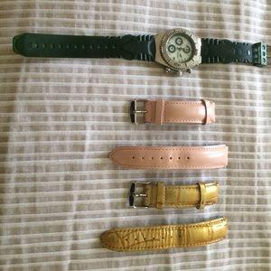 Technomarine Accessories - TechnoMarine silver watch with green rubber band.