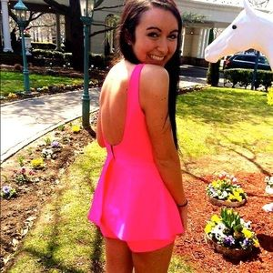 Hot pink backless romper