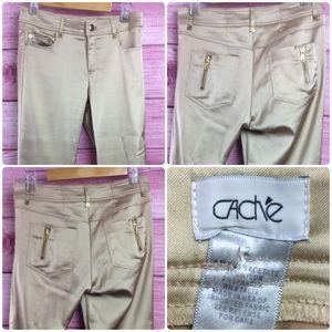 Cache Pants - CACHÉ Gold ankle pant size 2 zipper detail
