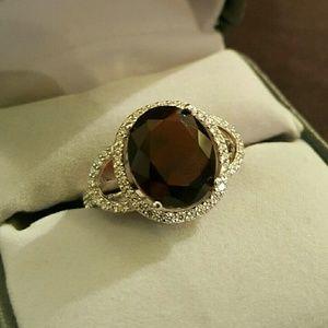 Jewelry - NWOT - Garnet + Wht Sapphire, SS.925