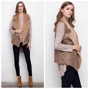 Beige Vest with Faux Fur Lining