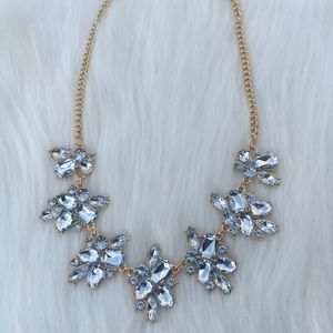 Rhinestone Crystal and Gold Statement Bib Necklace