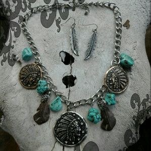 Chief Feather Turquoise Necklace