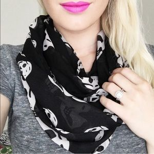 Accessories - Black Skull skeleton scarf infinity sheer chiffon