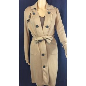CABI sweater trench coat, with button details