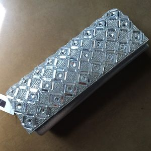New Silver Sparkly Clutch Purse
