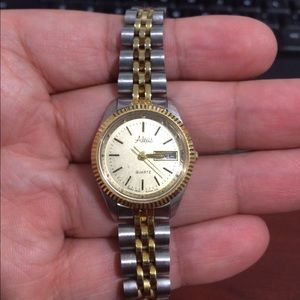 Accessories - Alexis Two Tone Ladies Watch With Date Gold Tone