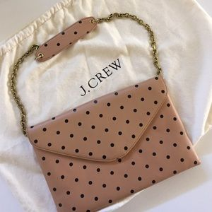 J.Crew Dotted Leather Envelope Clutch Like New!
