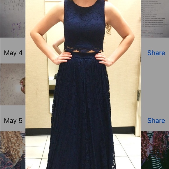 Jcpenney Dresses Dark Navy Lace Twopiece Prom Dress Poshmark