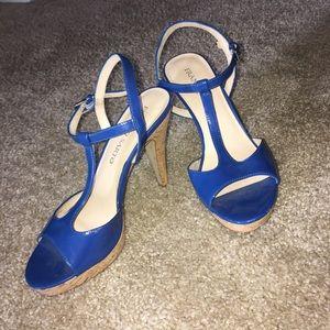 Franco Sarto Shoes - Blue Patent Leather T-Strap Pumps • Franco Sarto