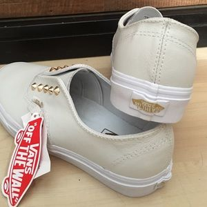 169ab9f1fea954 Vans Shoes - New Slip-on white leather vans w  gold studs W 8.5