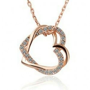Double heart necklace (gold color)