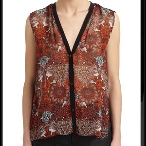 Helmut Lang Red Geo Print Sleeveless Top