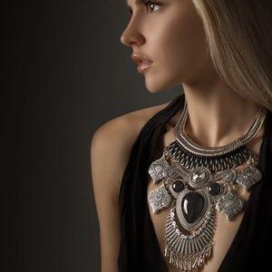 Aldo Jewelry - Elegant Silver & Black Statement Necklace Like New