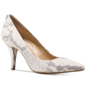 MICHAEL Michael Kors Shoes - Michael Kors Gray & White Python Pointed Toe Pumps