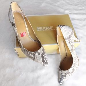 b73380a2b8a9 MICHAEL Michael Kors Shoes - Michael Kors Gray   White Python Pointed Toe  Pumps