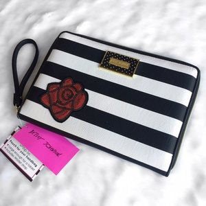 Betsey Johnson Handbags - Betsey Johnson Black & White Patch Striped Clutch